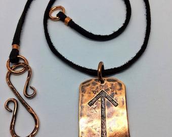 CHOOSE YOUR RUNE Copper & Leather Rune Talisman - Elder Futhark Rune Necklace - Viking, Norse, Asatru