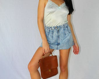 Vintage Denim Skirt Reworked Acid Wash