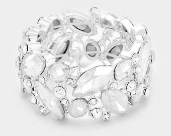 Bridal bracelet, bridal cuff, stretchable crystal cuff, vintage inspired rhinestone bracelet, wedding jewelry, bridesmaid bracelet jewelry