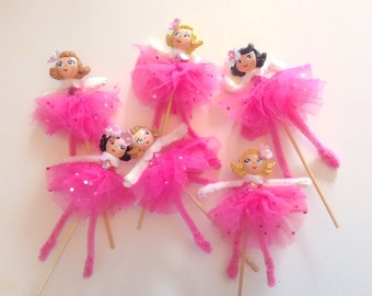 One Princess/Fairy/Ballerina/Pink/Doll/Cupcake Topper/ Cake Topper