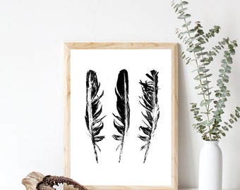 """Feathers, Home Decor, Wall Art Prints, Black and White, Modern, Home Decoration, Monochrome, Feather Art Print, Gift Idea, Print, 9"""" x 12"""""""