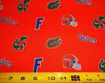 "FLORIDA GATORS   ORANGE Fabric   - 100% Cotton - One Yard  Piece 36"" x 44"""