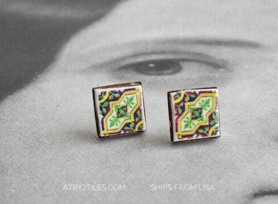 Stud Earrings Green Purple Posts Antique Azulejo Tile Stainless Steel OVAR  Portugal -  (see photos)  Gift Boxed - Ships from USA 953