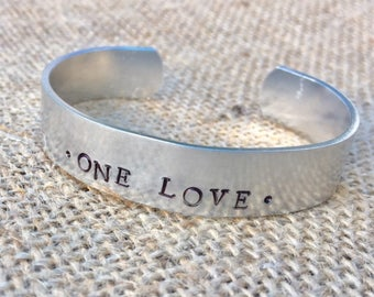 One Love Hand Stamped Cuff Bracelet