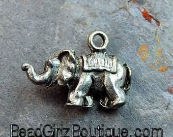 Elephant Antique Silver Pewter Charm -1