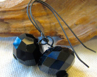 large black faceted rondelle earrings