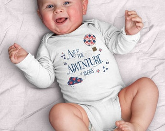 And so the adventure begins - baby girl Infant Bodysuit  (baby shower, gifts for baby, baby, adventure, explore, wanderlust, pink, travel)