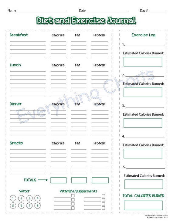 Diet and exercise journal pdf file printable for Fitness journal template printable