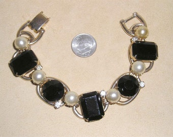 Vintage Black Glass And Rhinestone Bracelet With Faux Pearls 1950's Jewelry 7078
