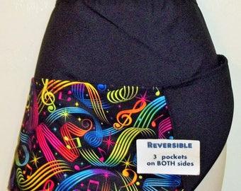 Handmade Reversible server waitress half apron Multicolor music with three pockets 6300 R