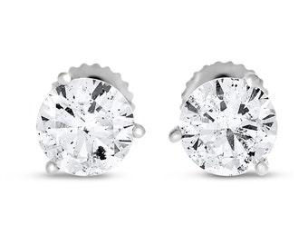 2,02 CT naturel rond diamant boucles d'oreilles trois broches panier vis arrière 14k or blanc