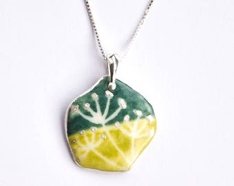 Hand made and hand painted porcelain and silver necklace