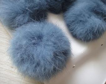 3pcs 6cm Blue Gray Real Rabbit Fur Ball Rabbit Fur Pom Poms
