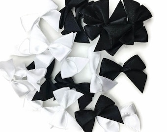 Black 7 White Ribbon Bow Embellishments