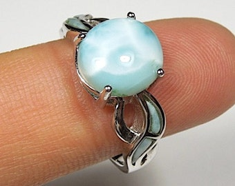 High Quality Genuine AAA Dominican Larimar Inlay 925 Sterling Silver Ring size 6,7,8,9