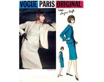 """Vogue Paris Original 1360 Jacques Griffe Vintage 60's One Piece Dress and Jacket Size Bust 38"""" UK 16"""