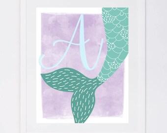 Mermaid Tail Monogram Initial, Digital Art Print