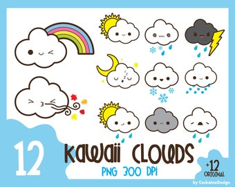 35% OFF, Weather clipart, kawaii weather clipart, kawaii rain clipart, sun clipart, kawaii cloud clipart, fall clipart, Commercial Use