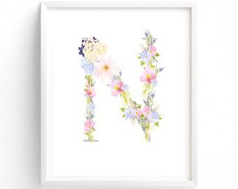 MULTI SIZES Letter N, Pink and Blue Floral, Printable Monogram, Nursery Art. Art Prints, Baby Girl Nursery, Wall art Prints