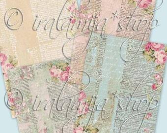 VINTAGE SCRIPT Collage Digital Images -printable download file-