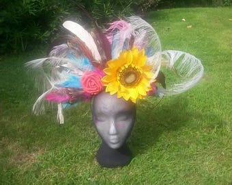 Flower and feather headdress.