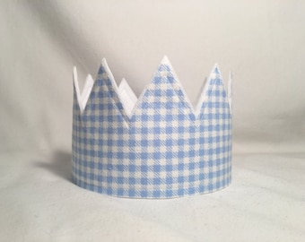 Boys Birthday Crown, First Birthday Hat, Gingham Crowns, Boys Party Hat, Birthday Crown, Gingham Birthday Hat, Birthday Party crown