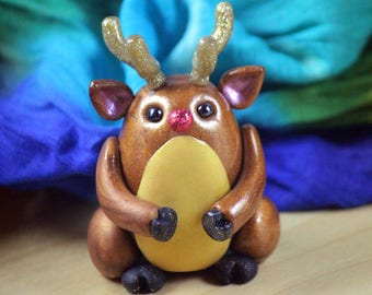 Rudolph the Red Nosed Reindeer Christmas Polymer Clay Figure
