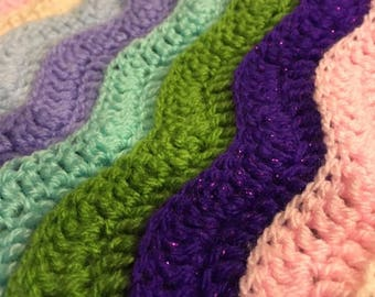 Beautiful Handmade Multicoloured Wave Children's Blanket and Bed Spread