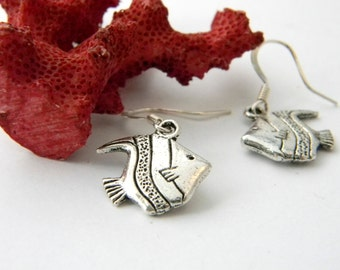 Tropical Fish Earrings Silver Color Dangle Earrings