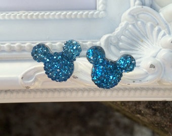 Mouse Rhinestone Earrings, Mouse Earrings, Stud Earrings, Vacation Earrings, Rhinestone Stud Earrings, Navy Blue