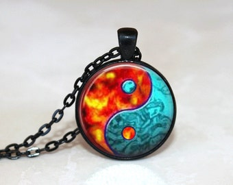 Glass Tile Necklace Ying Yang Necklace Black Jewelry Silver Necklace Silver Jewelry Yin and Yang Brass Jewelry Ying Yang Jewelry
