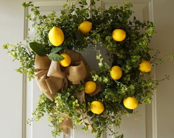 LEMONS Spring Summer Wreath, Weather Proof Wreath, Lemon Fruits Wreath, Lemons,Outdoor Wreath, Boxwood Eucalyptus Wreath,Citrus Fruits