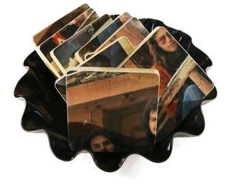 Reclaimed AMERICA Hideaway record album art wood coasters warped vinyl basket