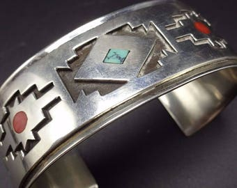 VERNON BEGAYE Vintage Navajo Sterling Silver TURQUOISE Coral Inlay Cuff Bracelet