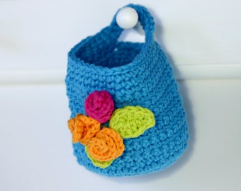 Makeup Remover Washable Pads Wash Clothes with Basket Holder in Bright Blue
