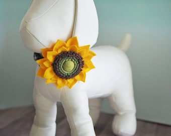 Sunflower Yellow Collar Flower for Large Dogs or Cats, Handmade Felt Flower with Velcro attach to Collars, Big Sun Flower Dog Bow Accessory