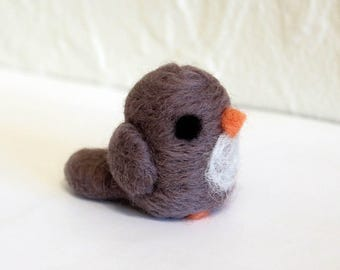 Needle Felted Gray Bird Soft Sculpture Figurine by Karen Watkins - Ready to Ship - Felt Gray Bird Art Doll Figure
