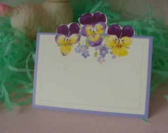 Vintage Pansies Garden Party Tea Party  Die cut Place Cards
