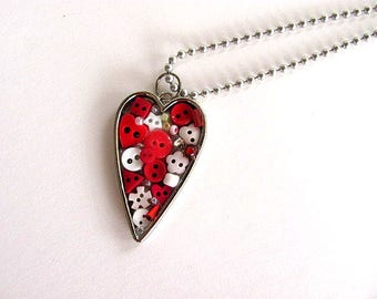 Button Filled Heart Pendant FREE US Shipping