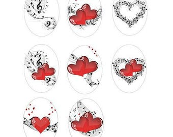 13x18mm 8pcs cabochons music and hearts