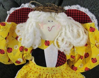 Soft Sculpture Doll - Quilted Angel - Daisy Ladybug
