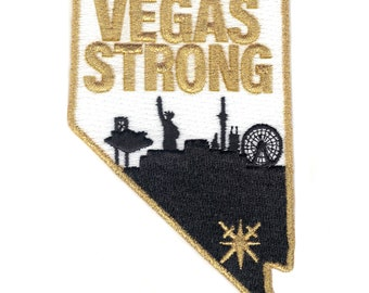 """Las Vegas Strong Patch Gold Metallic 4"""" Knights Hockey Iron On JERSEY PATCH Inaugural - 2018 Stanley Cup Finals"""