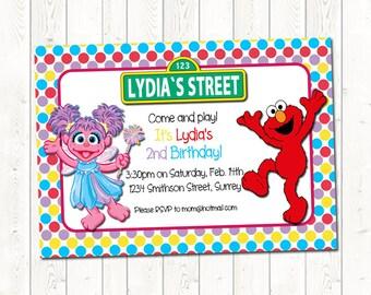 Elmo Invitation, Elmo Birthday Invitation, Abby Invitation, Abby Birthday Invite, Sesame Street Birthday Invitation, Abby Cadabby Invitation