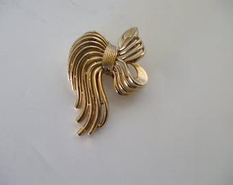 Trifari Gold Tone Brooch, Pin,  Vintage, Crown T,  Signed, ,  Gifts for Her