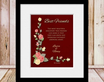Personalized Best Friend's Gift, Best Friend's Birthday Gift, Best Friend's Gift Print, Bridesmaids Wedding Gift, Maid of Honor Gift