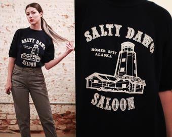 Vintage 1970s 80s Salty Dawg Saloon Homer Spit Alaska graphic tee / short sleeve pullover sweater / sweatshirt jumper - travel tourist -