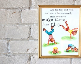 "vintage children's book print; ""make time for play;"" wall art; charming for children's bedroom, playroom, nursery, or adult's office"