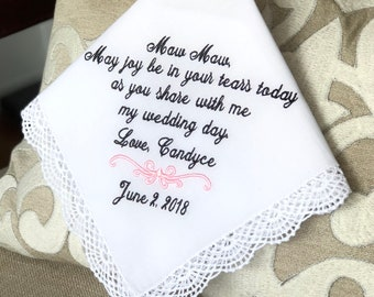 Grandmother of The Bride Handkerchief, Grandmother of the Groom - May joy be in your tears today - Gift - Hankie - Hankie - MisterandMrs