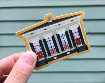 Double Shotgun House Vinyl Sticker, Building Architecture New Orleans Louisiana Local House Style Preservation