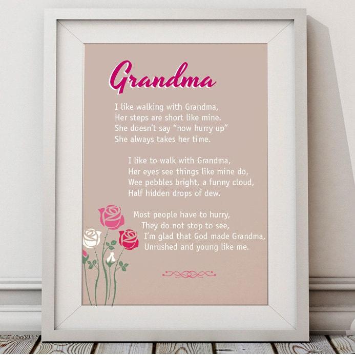 Grandma Poem Rhyme Words Typography Print Art Poster